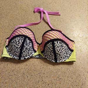 Shade and Shore Bikini top leopard neon fishnet